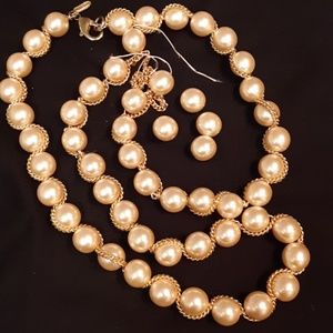 Faux Pearl Golden Chain Necklace to Restring or Je